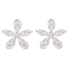 Diamond Flower Earrings, 14 Karat Yellow Gold Diamond Florette Stud Earrings