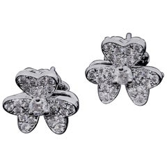 Diamond Flower Earrings 18 Karat White Gold