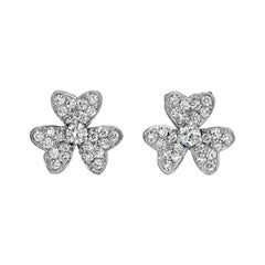 Diamond Flower Earrings 18k White Gold