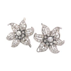 Diamond Flower Earrings, Circa 1950