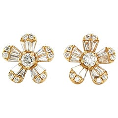 Diamond Flower Earrings in 14 Karat Yellow Gold