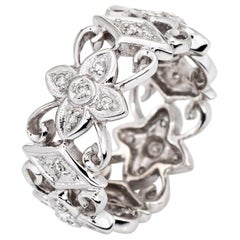 Diamond Flower Eternity Ring Estate 14 Karat White Gold Vintage Fine Jewelry