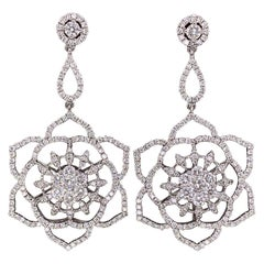 Diamond Flower Gold Drop Earrings