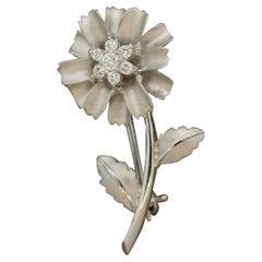 Diamond Flower Gold Pin Brooch