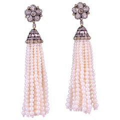 Diamond Flower Motif Pearl Tassel Earrings