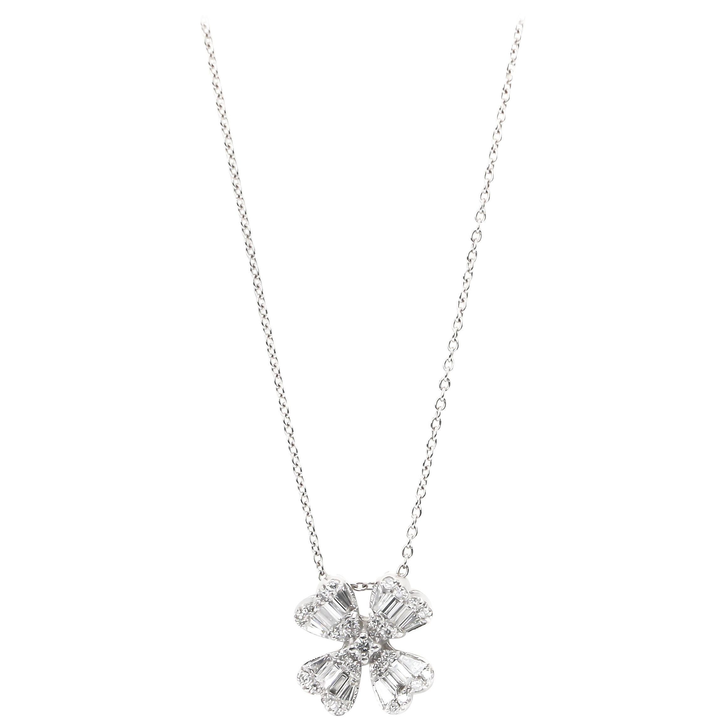 Diamond Flower Necklace 45 Diamonds 0.72 Carat 18 Karat Gold