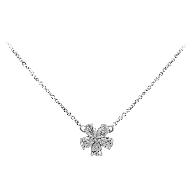 Diamond Flower Necklace For Sale