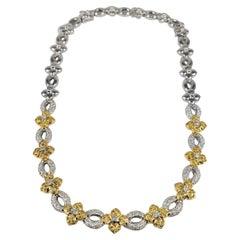 Diamond Flower Necklace in Two Tone 18 Karat Gold