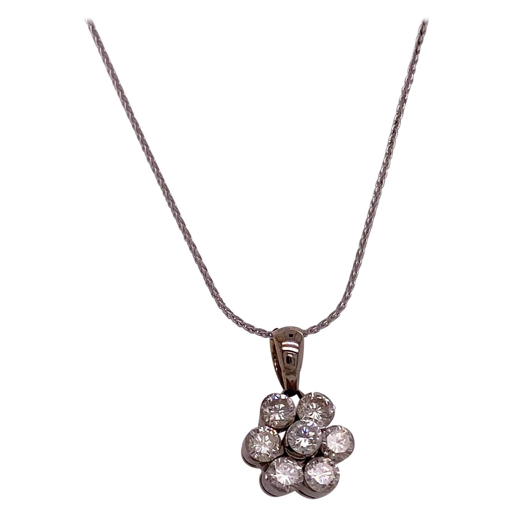 Diamond Flower Necklace w 7 Diamond Cluster Design in 14k White Gold