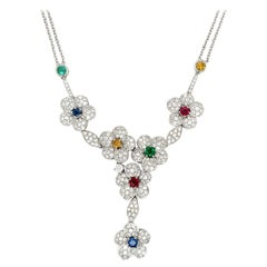 Diamond Flower Necklace with Rubies, Emeralds, and Sapphires