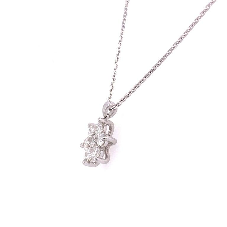 Brilliant Cut Diamond Flower Pendant Necklace For Sale
