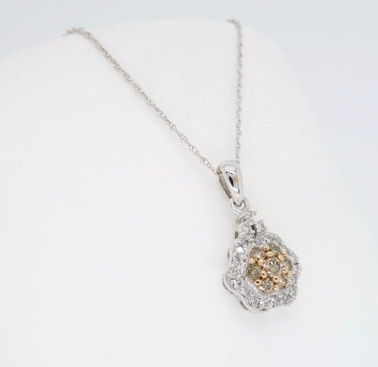 Round Cut Diamond Flower Pendant Necklace For Sale