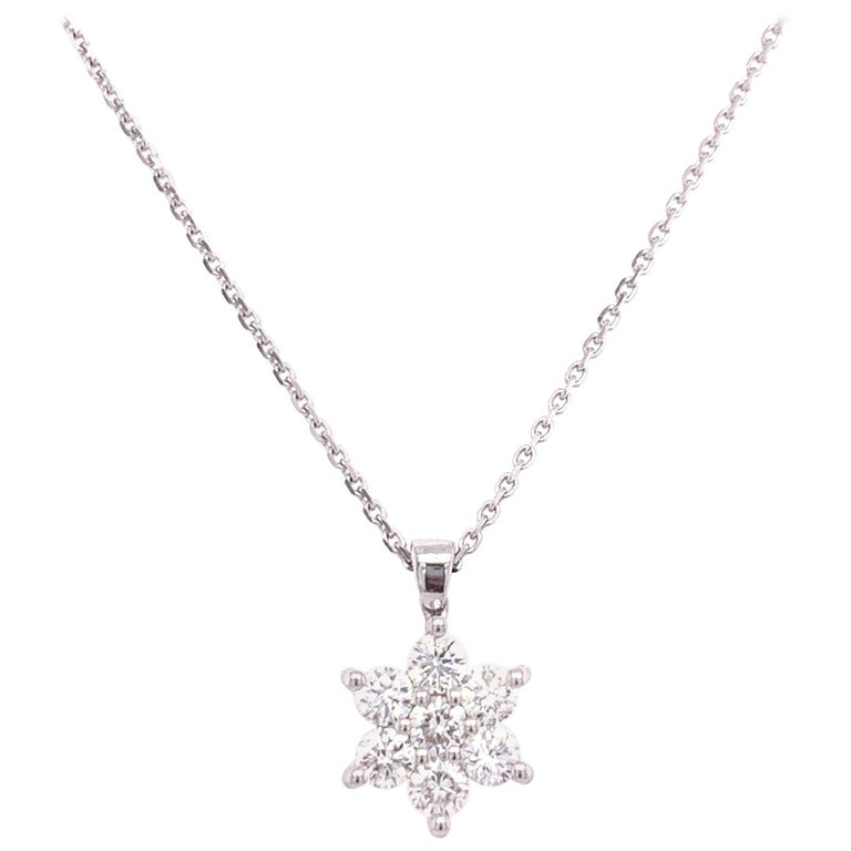 Diamond Flower Pendant Necklace For Sale