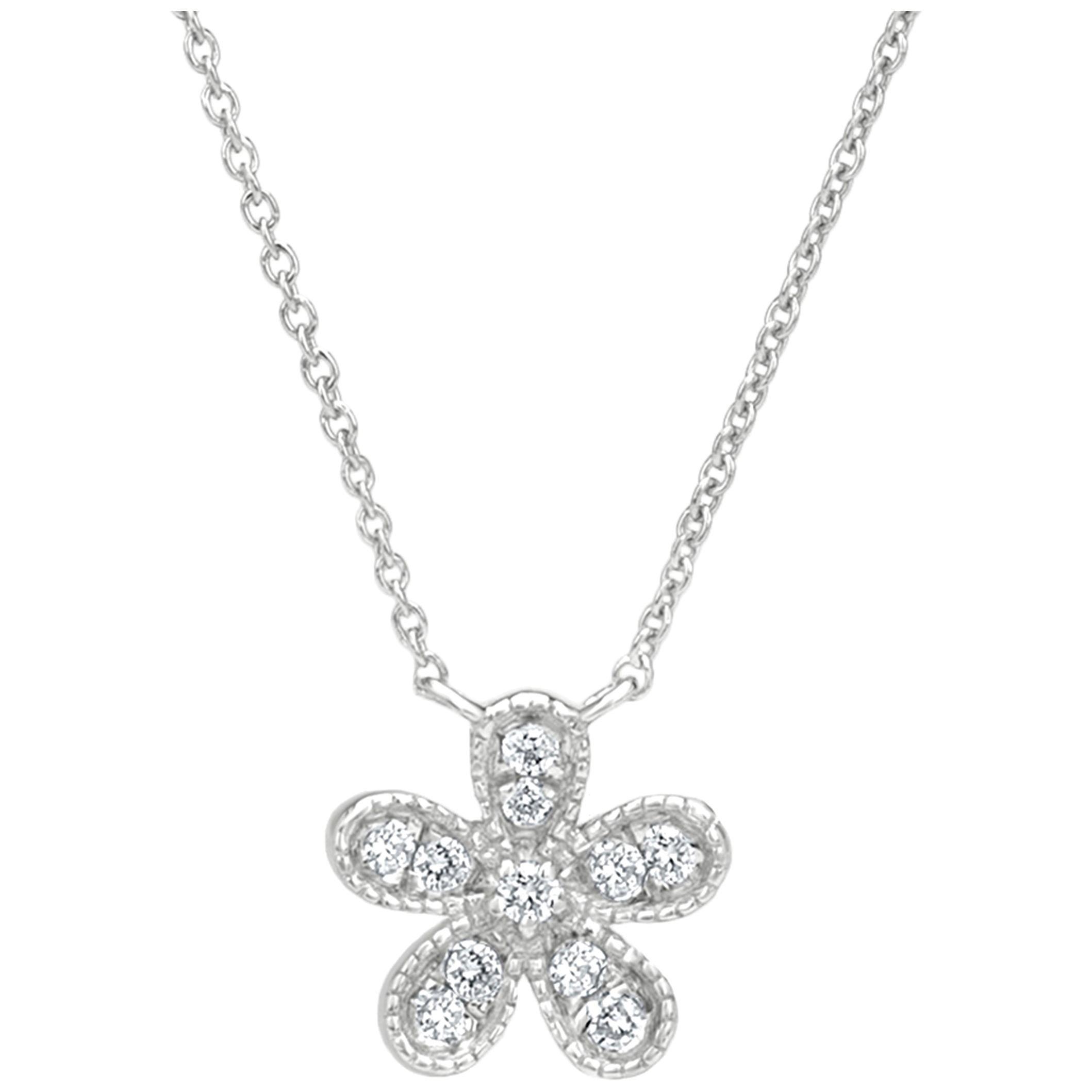 Flower Diamond Pendant Necklace in 18k White Gold