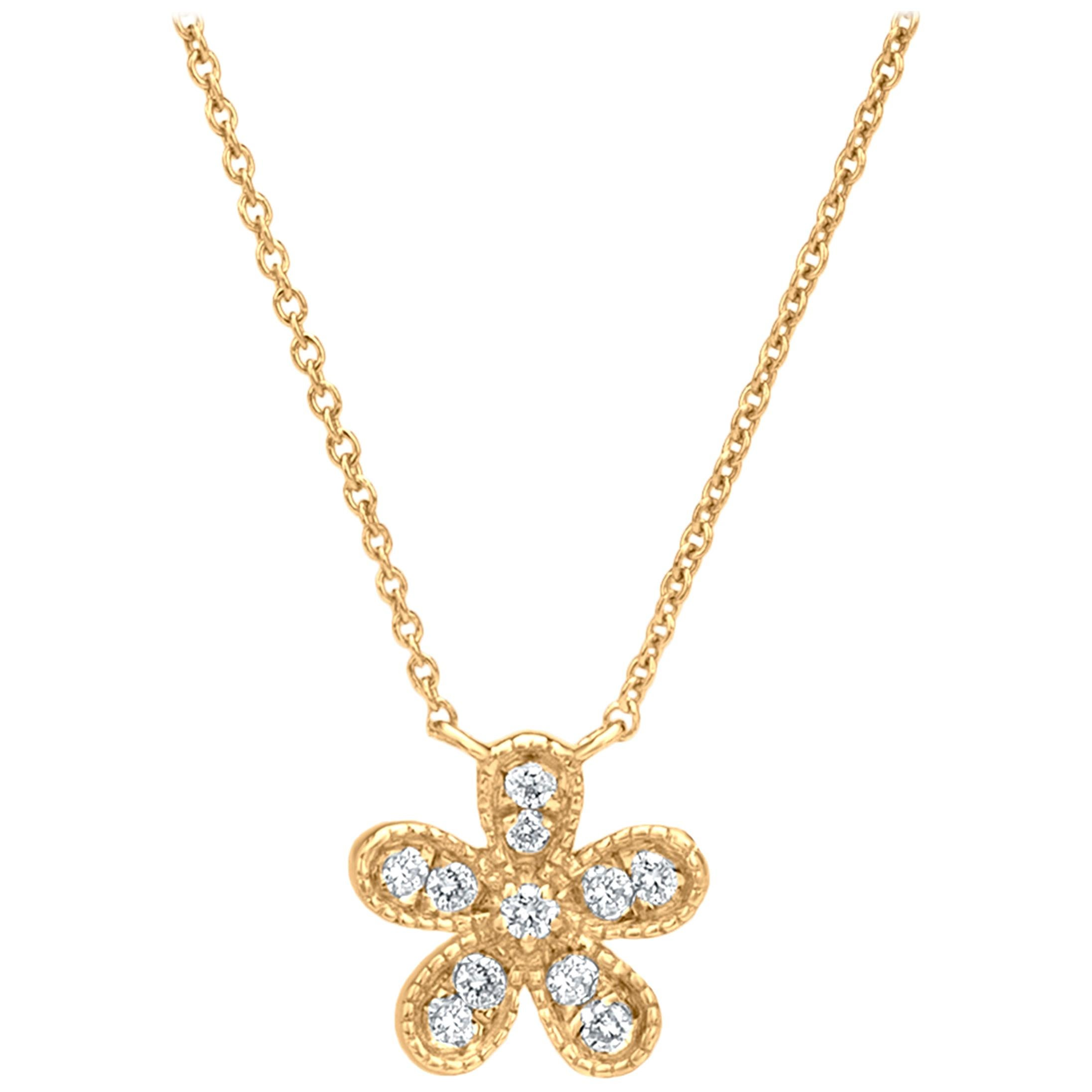 Flower Diamond Pendant Necklace in 18K Yellow Gold