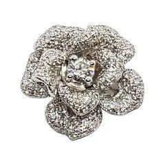 Diamond Flower Pendant Set in 18 Karat White Gold Settings