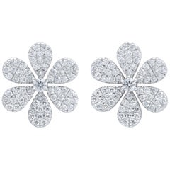 Diamond Flower Petal Earrings