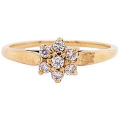 Diamond Flower Ring, 10 Karat Yellow Gold, Diamond Cluster Ring, Stackable Ring
