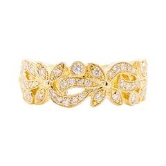 Diamond Flower Ring, 14 Karat Gold Floral Inspired Stackable Band, LR9229Y45JJ