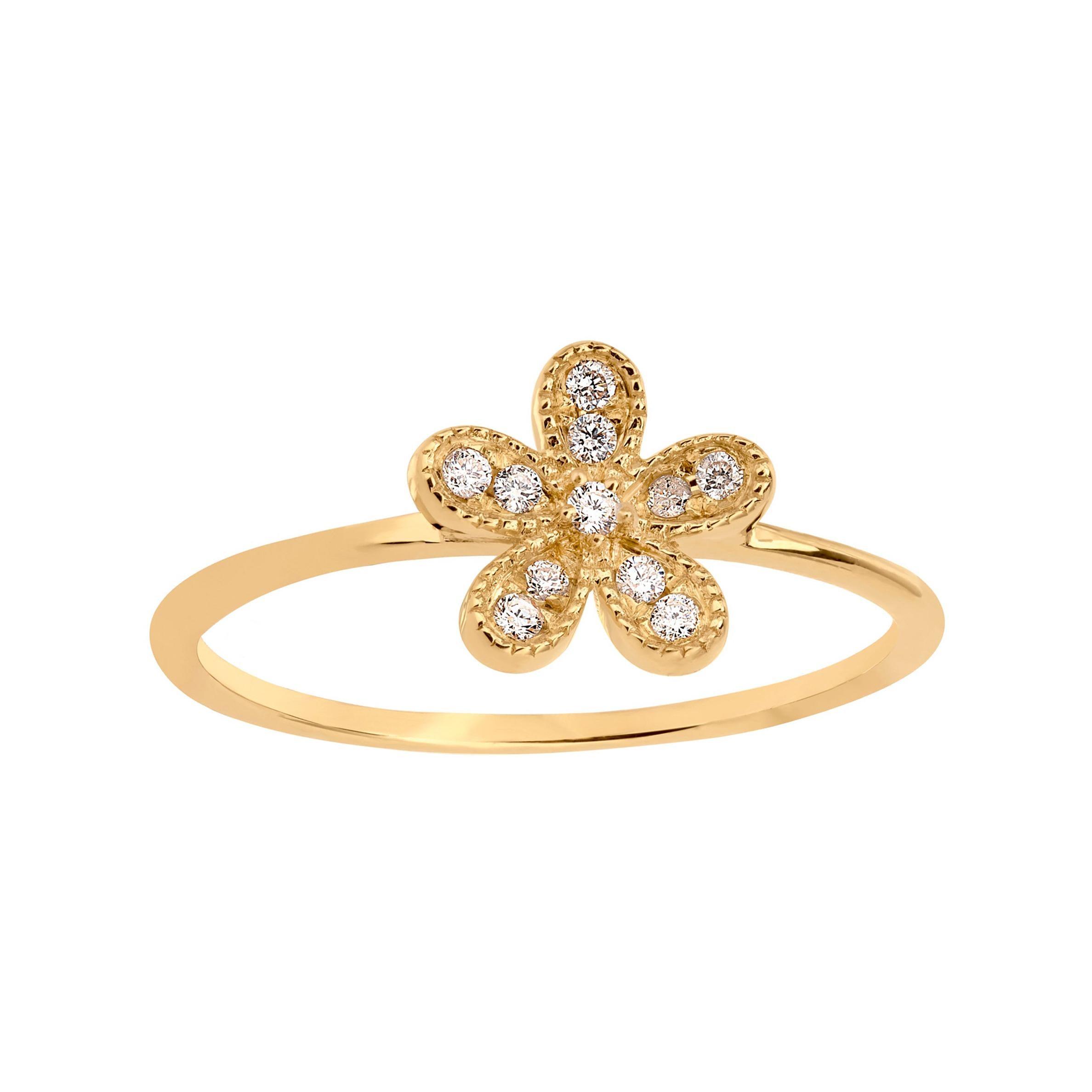 Diamond Flower Ring in 18k Yellow Gold