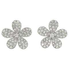 Diamond Flower Stud Earrings 1.55 Carat 18 Karat White Gold