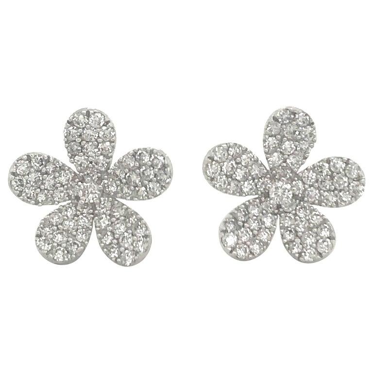 Diamond Flower Stud Earrings 1.55 Carat 18 Karat White Gold For Sale