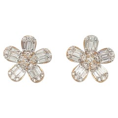 Diamond Flower Stud Earrings 1.67 Carat 14 Karat Rose Gold