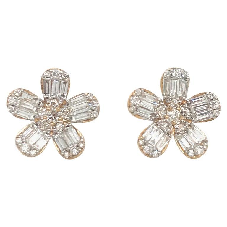 Diamond Flower Stud Earrings 1.67 Carat 14 Karat Rose Gold For Sale