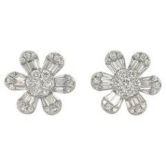 Diamond Flower Stud Earrings 1.91 Carat 18 Karat White Gold