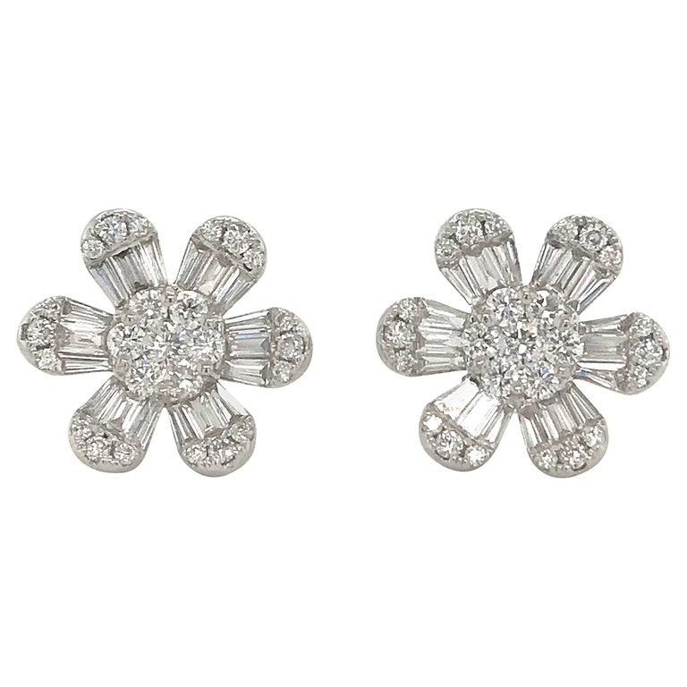 Diamond Flower Stud Earrings 1.91 Carat 18 Karat White Gold For Sale