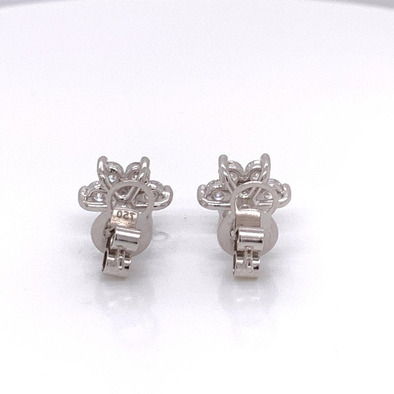 Brilliant Cut Flower Diamond Stud Earrings For Sale