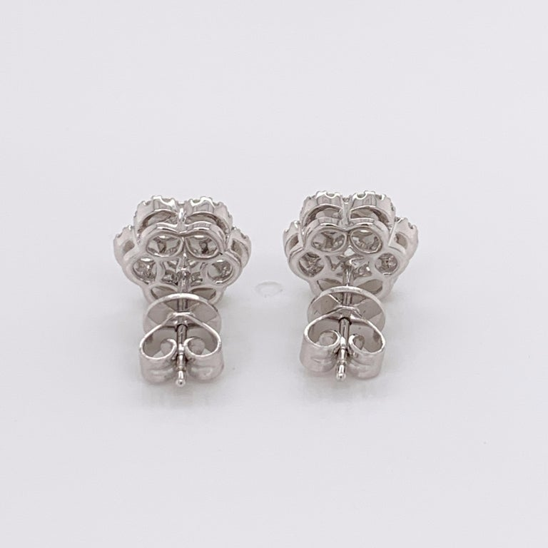 Brilliant Cut Diamond Flower Stud Earrings For Sale