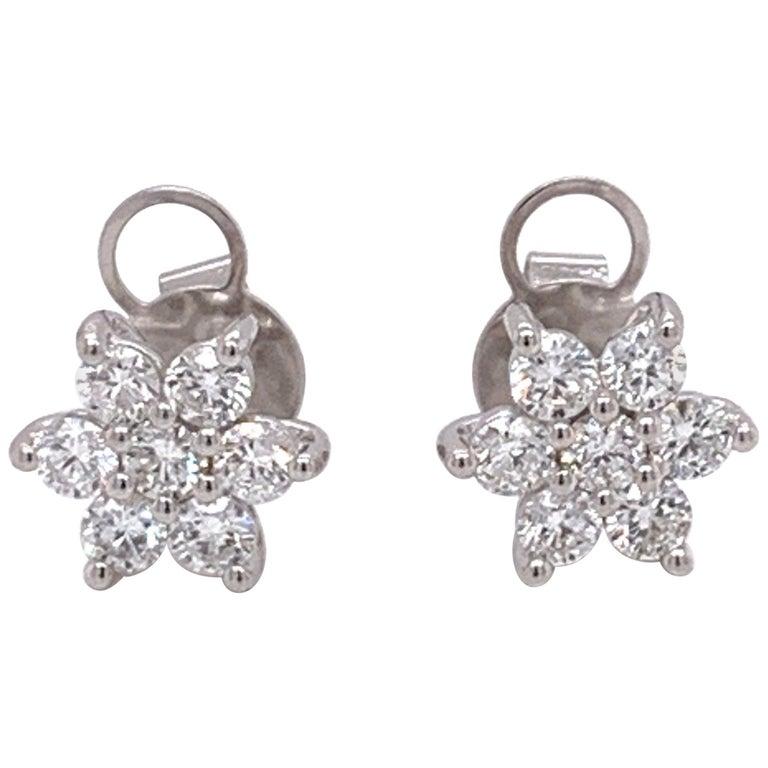 Flower Diamond Stud Earrings For Sale
