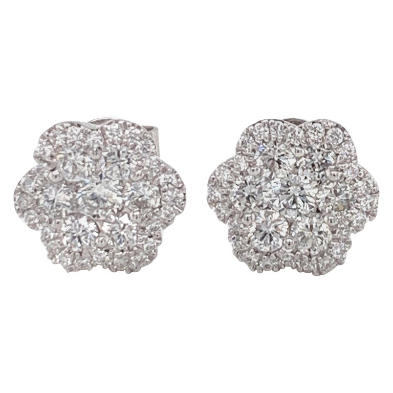 Diamond Flower Stud Earrings For Sale