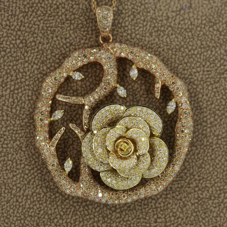 Round Cut Diamond Flower Tree Two-Tone Gold Pendant Necklace For Sale