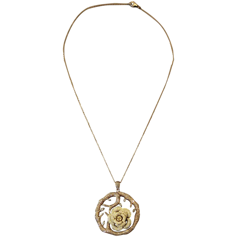 Diamond Flower Tree Two-Tone Gold Pendant Necklace