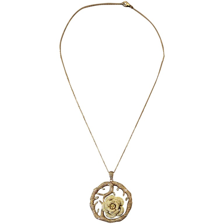 Diamond Flower Tree Two-Tone Gold Pendant Necklace For Sale