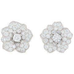 Diamond Flower White Gold 18 Karat Ear Studs