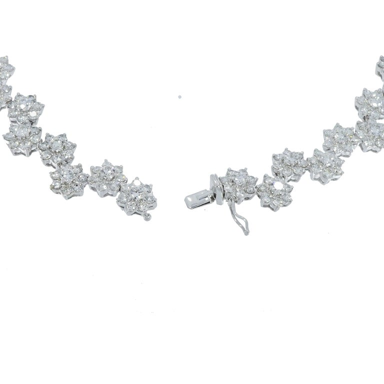 Diamond Flowers White Gold Necklace For Sale 1