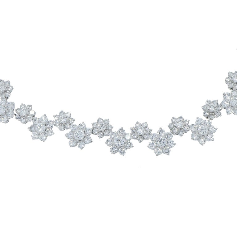 Diamond Flowers White Gold Necklace For Sale 2