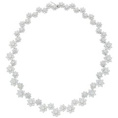 Diamond Flowers White Gold Necklace