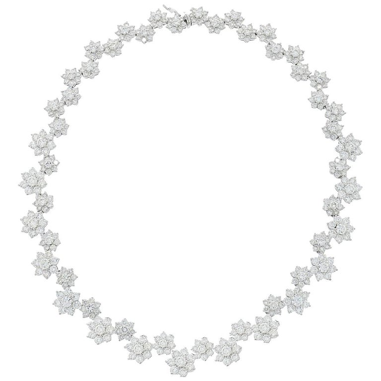 Diamond Flowers White Gold Necklace For Sale