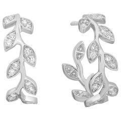 Diamond Foliage Hoop Earrings .78 Carat in 14 Karat White Gold