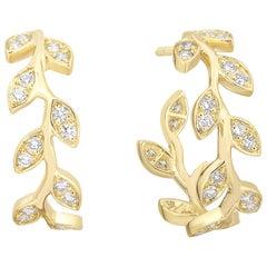 Diamond Foliage Hoops .78 Carat in 14 Karat Yellow Gold
