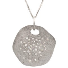 Diamond Freeform White Gold Disc Pendant Necklace