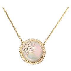 Diamond Freshwater Pearl 18k Yellow Gold Necklace Certified
