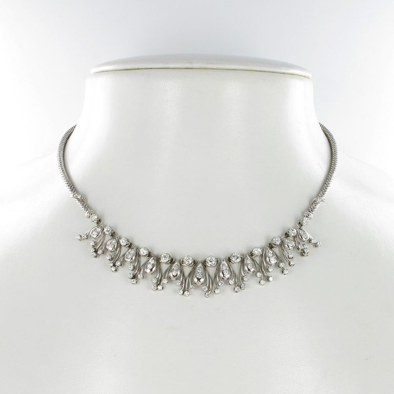 Contemporary Diamond Fringe Necklace in 18 Karat White Gold For Sale