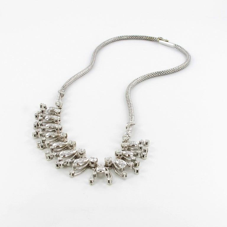 Brilliant Cut Diamond Fringe Necklace in 18 Karat White Gold For Sale