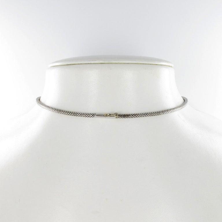 Women's or Men's Diamond Fringe Necklace in 18 Karat White Gold For Sale