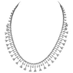 Diamond Fringe Necklace in 18 Karat White Gold with 14.00 Carat White Diamonds